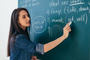 英語教師と黒板